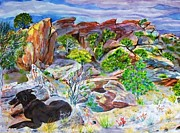 Desert Digital Art Originals - Ancient Camp Ground and Labrador by Annie Gibbons