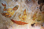 Ceylon Framed Prints - Ancient Cave Painting in Sigiriya. Sri Lanka Framed Print by Jenny Rainbow