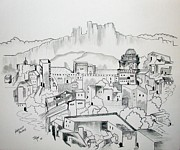 Original Pen And Ink Drawing Prints - Ancient City in Pen and Ink Print by Janice Rae Pariza