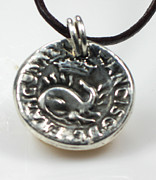 European Jewelry - Ancient Coin Inspired Pendant  Fine Silver with Dragon Crown Francor Rex Francis GDC by Esprit Mystique