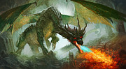 Fantasy Digital Art Prints - Ancient Dragon Print by Ryan Barger