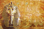 Pyramid Painting Framed Prints - Ancient Egypt Civilization Detail 02 Framed Print by Catf