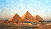 Vintage Blue Framed Prints - Ancient Egypt the Pyramids at Giza Framed Print by Sanely Great