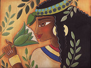Yellows Pastels Prints - Ancient Egyptian Belle  Print by Elaine Jackson