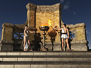 Olympiad Posters - Ancient Grecian Flame Lighting Ceremony Poster by Mike Heywood