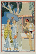 Spring Dresses Framed Prints - Ancient Greece Framed Print by Georges Barbier