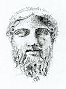 Zeus Drawings Framed Prints - Ancient head sculpture Framed Print by Cruz Fine Art