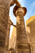 Hieroglyphic Prints - Ancient Pillars of Karnak Temple Print by Mark E Tisdale