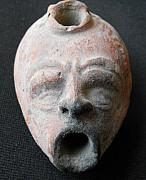 Roman Ceramics Originals - Ancient Roman oil lamp in shape of an actors mask by Anonymous ceramic artist