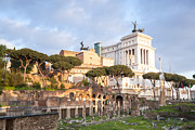 Typewriter Photos - Ancient roman ruins and modern Vittoriano monument Rome Italy by Matteo Colombo
