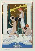 Showering Prints - Ancient Rome Print by Georges Barbier