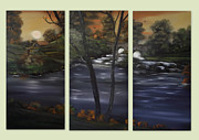 Cabin Wall Framed Prints - Ancient Rustic Outlook Triptych Framed Print by Cynthia Adams
