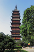 Chang Framed Prints - Ancient Square Pagoda Framed Print by Charline Xia