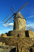 Languedoc Posters - Ancient stone windmill of Collioure Poster by Vilainecrevette