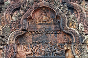 Carving Posters - Ancient Temple Carvings in Cambodia Poster by Artur Bogacki