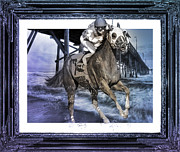 Horseracing Prints - And Away We Go II Print by East Coast Barrier Islands Betsy A Cutler
