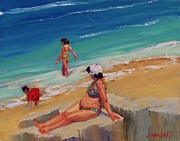 Beach Scene Painting Originals - And Baby Makes Three by Laura Lee Zanghetti