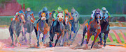 Jockey Paintings - And Down the Stretch They Com by Kimberly Santini