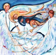 Trumpets Paintings - And The Angels Sang by Marla Hoover