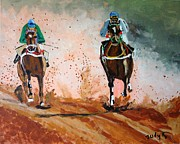 Horse Race Framed Prints - And The Winner Is Framed Print by Judy Kay