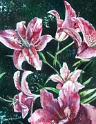 Colorful Floral Gardens Paintings - And They Called Her Lily by Shana Rowe