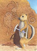 Squirrel Painting Prints - And you thought it was the Anasazi Print by Catherine G McElroy