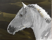 Janina Suuronen Paintings - Andalusian foal by Janina  Suuronen