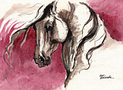 Horse Drawing Prints - Andalusian horse acrylic painting Print by Angel  Tarantella