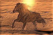 Horse Drawing Digital Art Posters - Andalusian Sunset Poster by Maria Urso - Artist and Photographer