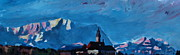 Original Artwork Paintings - Andechs Holy Mountain with Alps Zugspitze by M Bleichner