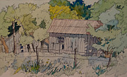 Old Barns Mixed Media - Anderson Barns by Terry Holliday