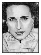 Closeups Drawings Framed Prints - Andie MacDowell in 1992 Framed Print by J McCombie