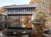 Autumn Foliage Photo Framed Prints - Andover Covered Bridge Framed Print by Edward Fielding
