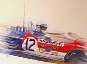 Watercolor Paintings - Andretti by Robert Hooper