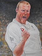 Celebrity Portraits Painting Originals - Andrew Freddy Flintoff by David Paterson