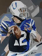 Rookie Paintings - Andrew Luck 2013 by Steven Dopka