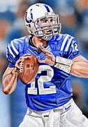 Pro Football Prints - Andrew Luck Sketch Card Print by Joshua Jacobs