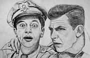 Andy Griffith Drawings - Andy and Barney by Jeff McJunkin