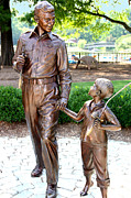 Andy Griffith Show Photo Posters - Andy and Opie Statue NC Poster by Frank Savarese
