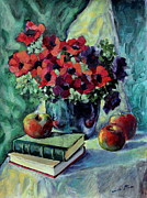 Nature Study Painting Posters - Anemones and apples Poster by Adin OLTEANU