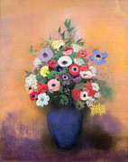 Floral Prints Posters - Anemones and lilac in a Blue Vase Poster by Odilon Redon