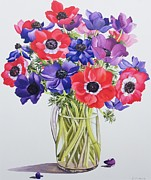 Flower Arrangement Paintings - Anemones in a glass jug by Christopher Ryland