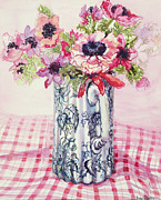 Table Cloth Posters - Anemones in a Victorian Flowered Jug Poster by Joan Thewsey