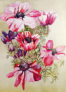 Bright Still Life Prints - Anemones Print by Joan Thewsey