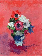 Attach Prints - Anemones on a red ground Print by Diana Schofield