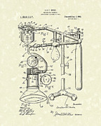 Patent Artwork Drawings Metal Prints - Anesthetic Machine 1919 Patent Art Metal Print by Prior Art Design