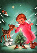Cards Vintage Digital Art Prints - Angel and Deer Print by Munir Alawi