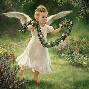Christ Child Prints - Angel and Garland Print by Laurie Hein