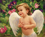 Christ Child Prints - Angel and Morning Glory Print by Laurie Hein