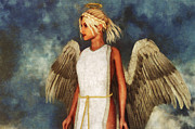 Angel Modern Art Posters - Angel and Sky Poster by Liam Liberty